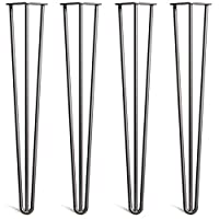 """[HLC] 4 x Heavy Duty Hairpin Table Legs - Superior Double Steel Welding with Free Screws, Build Guide & Protector Feet Worth £8! - 12mm Steel, All Sizes & 13 Colours [28""""/71cm, 3 Rod, Black]"""