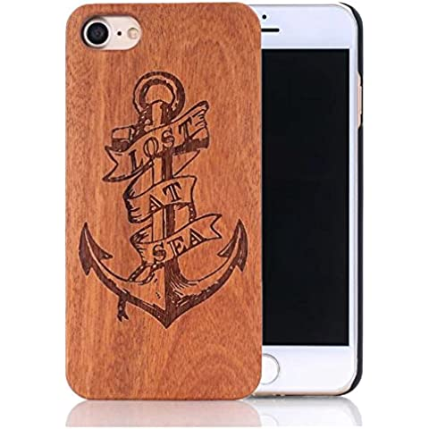 Sunroyal® Funda Madera iPhone 5 5S Wooden de Bambú Natural de la Trasera Cubierta Lujo Bumper Shell para el Apple 5 5S [Ultra Slim] Retro Carcasa Absorción de Impactos Madera Real Duro de Parachoques Móvil +1x Protector de Pantalla - (Ancla Anchor)
