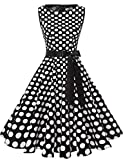 Gardenwed Damen 1950er Vintage Cocktailkleid Rockabilly Retro Schwingen Kleid Faltenrock Black White Dot M