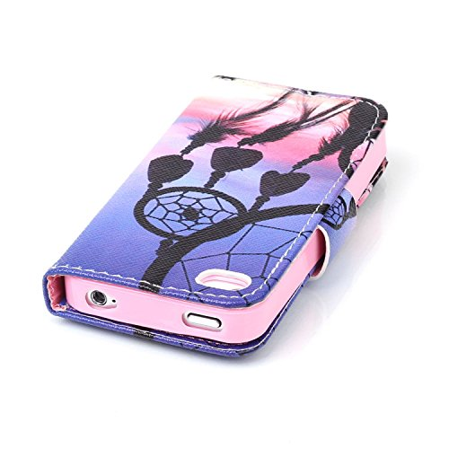 Custodia per Apple iPhone 4, ISAKEN iPhone 4S Flip Cover con Strap, Elegante Sbalzato Embossed Design in Pelle Sintetica Ecopelle PU Case Cover Protettiva Flip Portafoglio Case Cover Protezione Caso c fantasie campanula