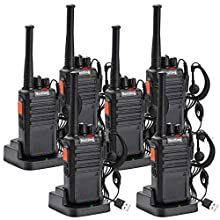 Nestling 6PCS USB Rechargeable Long Range Two-way Radio Walkie Talkies 16CH Walky Talky with Original Earpieces LED Light Voice Prompt for Field Survival Biking and Hiking