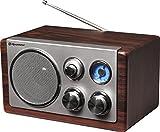 Roadstar HRA-1245 Retro-Radio mit UKW und MW Tuner (Teleskop-Antenne, Batteriebetrieb möglich), braun / silber