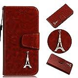 BONROY® Schlichte Einfarbige Hülle für Samsung Galaxy S6 Brieftasche in Lederoptik, Schale mit Karteneinschub, Etui, Buchstil Geldbörse-(YB Diamantturm - Braun)