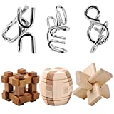 Puzzles, Wolfbush 6Pcs IQ Rätsel Set Jigsaws Metall-Puzzle + Holz Kong Ming Schloss für Kinder Erwachsene Spielzeug