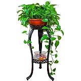fuluomei FLM Estanteria para Macetas - Soporte Macetas Plantas Metálico de 2 Niveles para Hierbas y Flores,Color Negro
