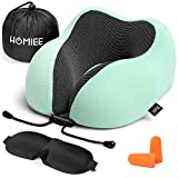 HOMIEE Travel Neck Pillow for Airplanes, Soft Memory Foam Cushion Essentials with Sleep