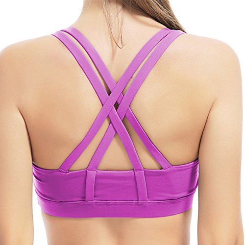 DAS Leben Sport BH starker Halt mit X-Rücken ohne Bügel (1 St oder 2 St) (S, Lila)