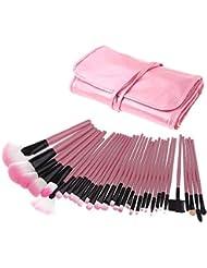 BlueBeach® 32 Pcs professionnel cosmétiques maquillage pinceau Set Kit avec étui en cuir synthétique rose
