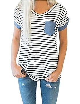 QinMM Camiseta de Mujer a Rayas, Manga Corta Blusa con Cuello EN v y Bolsillo
