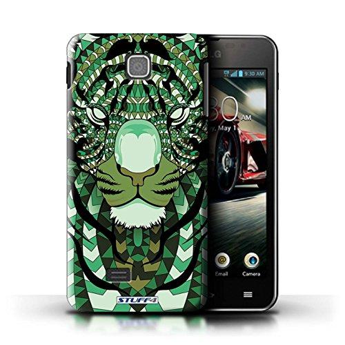 Kobalt® Imprimé Etui / Coque pour LG Optimus F5/P875 / Loup-Vert conception / Série Motif Animaux Aztec Tigre-Vert