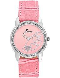 Jainx Heart Pattern Pink Dial Analog Watch For Women & Girls - JW573