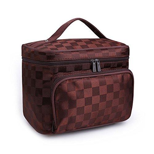 Großes Fassungsvermögen Kosmetiktaschen Diamond Lattice Muster Organizer Make-up Bag mit Spiegel braun coffee (Dopp Geldbörse Herren)
