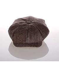 elwow Hombres tejido de mezcla de lana de alta calidad octogonal de moda  del sombrero newsboy gorra plana boina 80240d3f37c