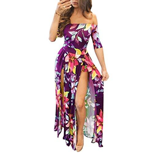 Plissee Short Sleeve Tee (YunYoud Frau Sexy Jumpsuit Spielanzug Kurze Hose Bodycon Spielanzug Langes Kleid (L, Lila))