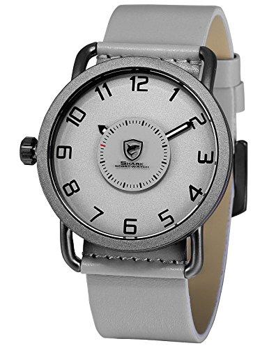 Shark Sportuhr Herren Quarz Plattenspieler Drehen Zweite Hand Drehen Einfache Design Leder Armbanduhren SH525