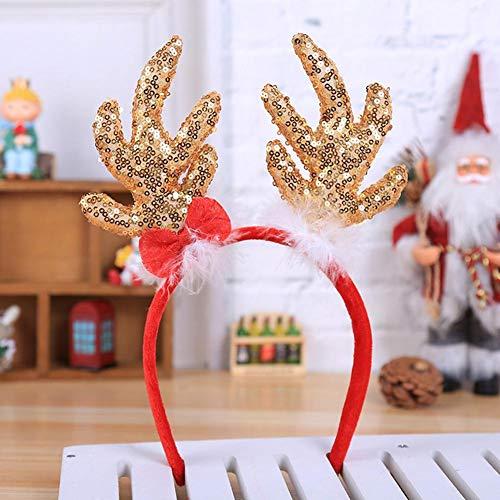 Weihnachten Stirnband, Pailletten Schneeflocken Große Geweihe Form Weihnachten Kopf Schnalle,Weihnachten Ornamente Party Zubehör