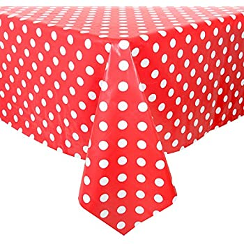Red/White Polka Dots Wipe Clean PVC Vinyl Tablecloth Cover Protector  140x240cm