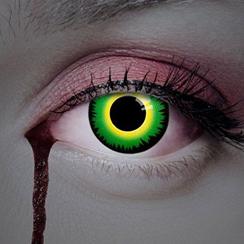 aricona Farblinsen grüne Kontaktlinsen Halloween Special 2er Set Jahreslinsen farbig