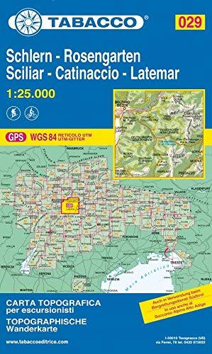 Schlern, Rosengarten, Latemar, Regglberg: Wanderkarte Tabacco 029. 1:25000 (Cartes Topograh)