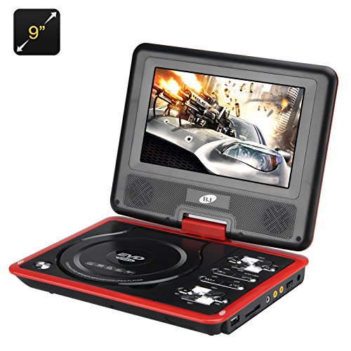 Generic 9 Inch Region Free Portable DVD Player - 270 Swivel Screen, 1280x800 Resolution, Hitachi Lens, SD Card slot