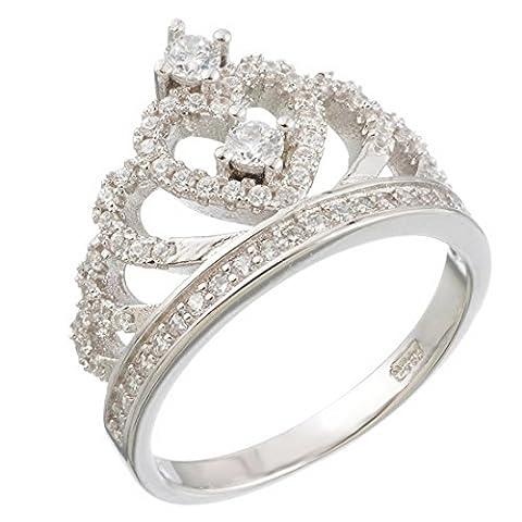 MJARTORIA Femme Bijoux Bague Anneau Ring Forme Couronne Fiancée Proposition Engagement Simple Vintage Size