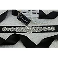 queendream strass Cintura Fibbia Borsa Wedding Dress fascia strass Cintura matrimonio, colore: nero