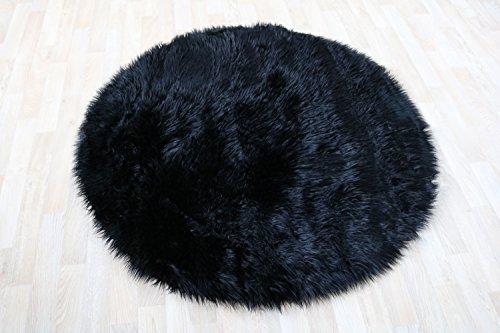 Schwarz Fell Teppich (Fell Teppich Schaffell Lammfell Imitat Kunstfell Dekofell MIA bei 30 Grad waschbar aus 100% Polyester (120 cm Rund, schwarz 040))