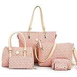 Mymyguoe 6Pcs Mujeres Big Bag + Bolso + Bandolera + Messenger Bag + Wallet + Key Case Bolso Retro para Mujer + Bolso + Bandolera Bandolera + Bolso de Mano + Monedero + Bolso para Llaves