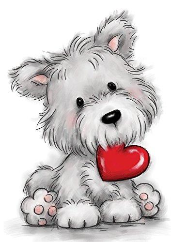 Wild Rose Studio Hund mit Herz Stempel, mehrfarbig, 0,1x 9x 18cm