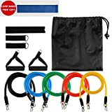 Eloka Resistance Bands with Handles Strength Training Equipment Exercise Band Set Includes 5 Heavy Stretch Bands, Door Anchor, 2 Ankle Straps, 2 Foam Handles, Carrying Pouch for Men Women(Extra Gift Resistance Loop Bands for Fitness Yoga