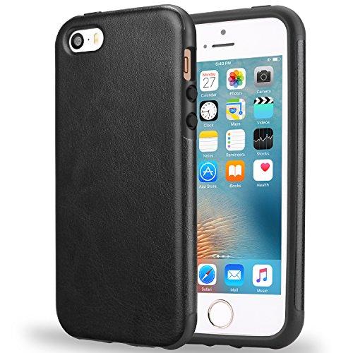 TENDLIN Coque iPhone SE Cuir et Souple TPU Silicone Hybride Bonne Protection Etui pour iPhone SE 5S 5 (Marron) Cuir Noir