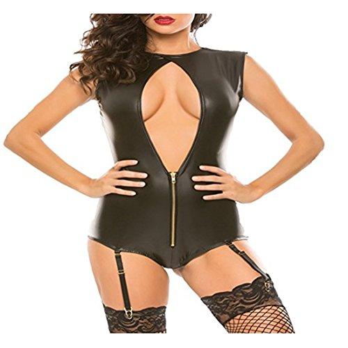 *Freebily Damen Bodysuit Leder Sexy Dessous Body Erotik Einteiler Trikot Ärmellos Strampler mit Strumpfhalterung Schwarz XL*