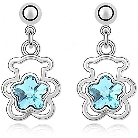 TAOTAOHAS donna cristallo ciondoli orecchino di goccia [ orsacchiotto di peluche], 18KGP Rhinestone