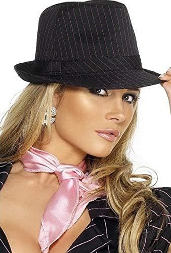 Gangster Kostüm Schwarz Pink Und - Damen Fieber Gangster Bugsy Malone Schwarz/Pink Nadelstreifen Trilby Kostüm Hut