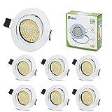 Spots LED Interieur Blanc Plafonnier Encastrable Orientable Rond 3.5W Ultraslim Blanc Chaud 3000K 400LM 230V IP20 pour Plafond de Chambre, Cuisine, Salon, Couloir (Lot de 6)