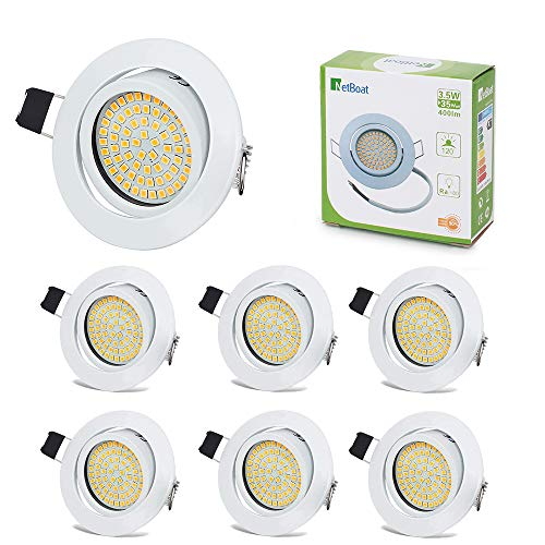 LED Einbaustrahler Schwenkbar Ultra Flach 3.5W Warmweiß 3000K IP20 LED Deckenstrahler 400 Lumen Rund Weiße Stahl LED Einbauspots im Wohnzimmer, Schlafzimmer, Esszimmer, Ausstellungsraum (6er Set)