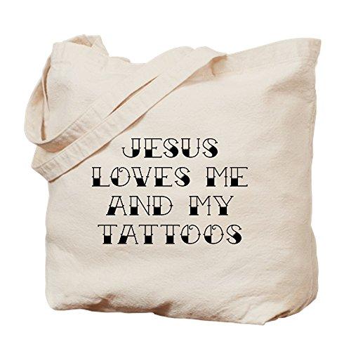 CafePress - Jesus Loves Me And My Tattoos - Naturleinen-Einkaufstasche