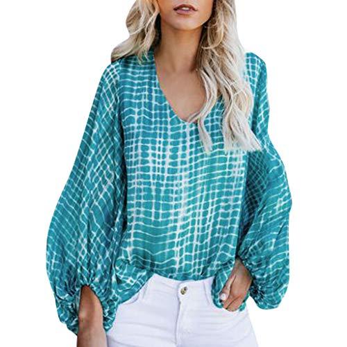 Wilde Casual V-Ausschnitt Dye Print Ballon Sleeve Sommer Lose Top T-Shirt Bluse Seine Farbe Ihr Leben ()