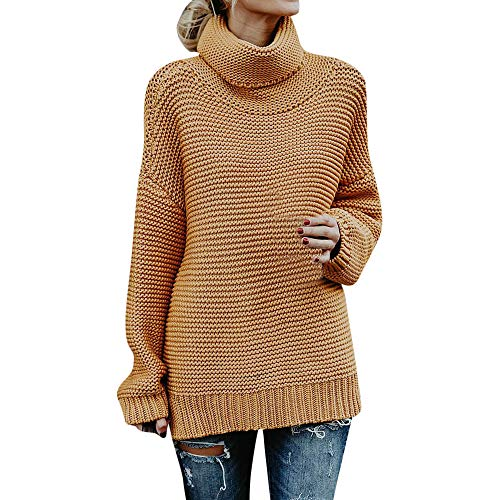❤️ Suéter de Punto de Cuello Alto de Las Mujeres, Invierno Mantener Caliente Jersey de Cuello Suelto de Manga Larga Blusa Superior suéter de Color Puro Camisa Larga Absolute