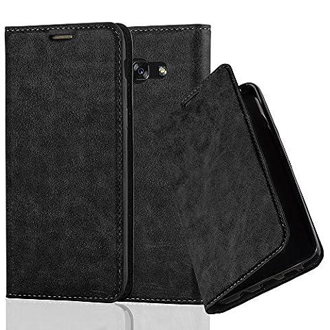 Samsung Galaxy A5 (7) Modell 2017 Hülle in NACHT-SCHWARZ von Cadorabo - Handy-Hülle mit unsichtbarem Magnet-Verschluss Standfunktion und Karten-Fach Case Cover Schutz-hülle Tasche Book Klapp (Tasche Magnete)