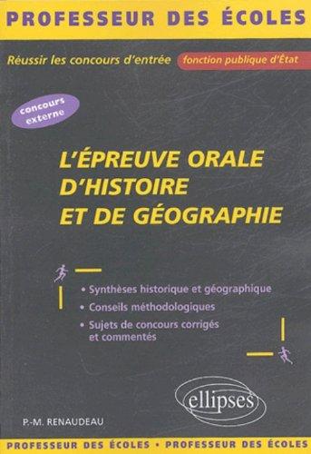 L'épreuve orale d'histoire et de géographie