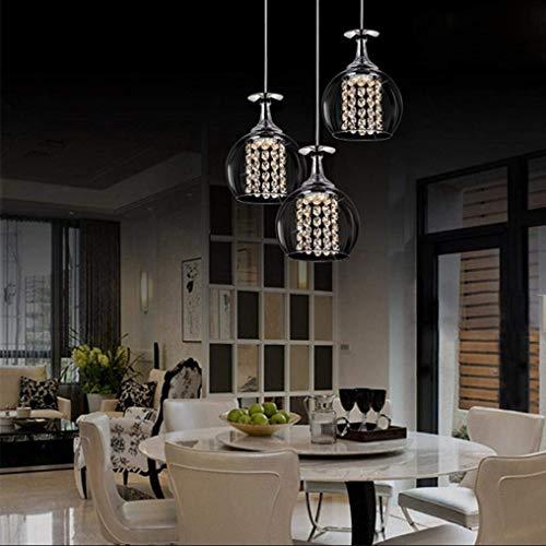 W-LI Moderne Kreative Pendelleuchte Led Kristall Weingläser Anhänger Glas Schatten Dome Edelstahl Hängelampe Höhenverstellbar 15 Watt 230 v -