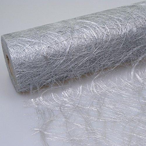 Sizoweb Tischband silber 30 cm Rolle 5 Meter 64 003-R (Servietten Graue Weiße Und)