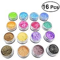 SUPVOX 16pcs polvo de mica maquillaje mineral pigmentos sombra de ojos maquillaje arte del clavo gel de baño jabón para el cabello que hace la loción