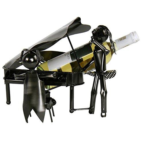 Flaschenhalter Klavier Pianist am Flügel Geschenk Weinflaschenhalter silberfarben