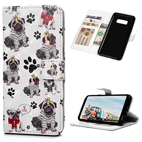 Mlorras Hülle für Samsung Galaxy S8, 3D Gemalt Klapphülle Handytasche PU Leder mit TPU innerer Handyhülle Klappbares Halterung Brieftasche Schutzhülle mit Karteneinschub Handy Hüllen,Mini-Bulldogge