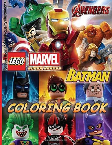 Lego MARVEL AVENGERS & BATMAN Coloring Book: for Kids, for boys & girls (34 high-quality Illustrations)