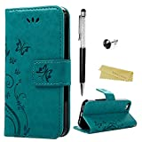 iPhone 5 5s/SE Hülle Mavis's Diary Blau Retro Design PU