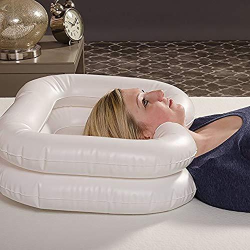 Aufblasbares Shampoo-Becken-Badehilfe-Wäsche-Haar im Bett-tragbaren Rest-Behälter mit Ablaßschlauch für behinderte, ältere Leute, Schwangerschaft 68 * 62cm (weiß)