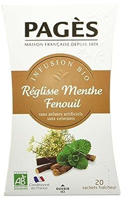 Pagès Infusion Réglisse Menthe Fenouil Bio 20 sachets - Lot de 2